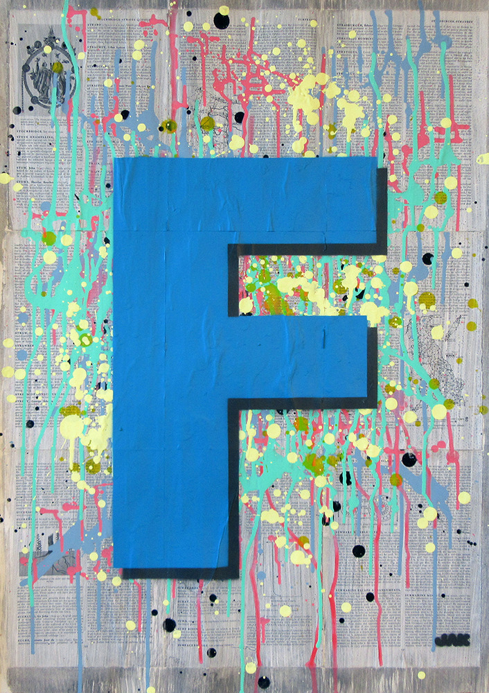 Letter F painting by Jak Blue. View more work on www.jakobussmit.com